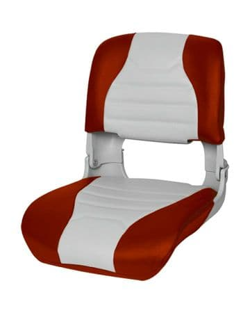 MARINE PREMIUM HIGH BACK ALL WEATHER BOAT SEAT  GREY/RED (75145GR) yacht fishing